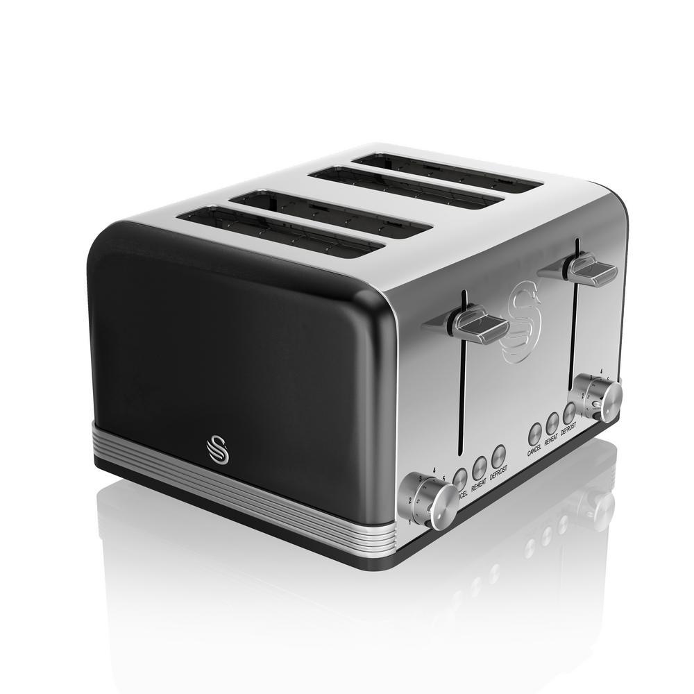 Swan Retro 4-Slice Black Toaster