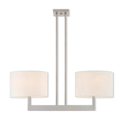 Hayworth 2-Light Brushed Nickel Linear Chandelier with Off White Fabric Outside and White Fabric Inside Hardback Shade
