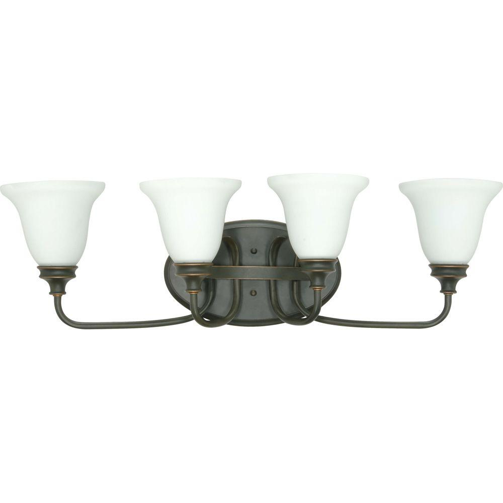 Glomar Bistro 4-Light Rustic Bronze Wall Vanity Light with Satin Opal White Glass