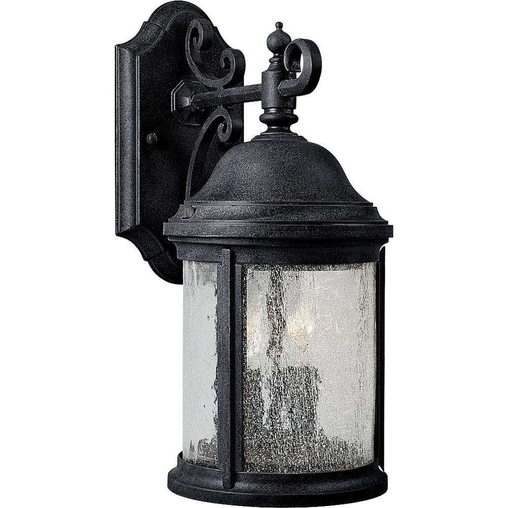 Progress Lighting Ashmore Collection 2 Light Textured Black 14 8 In Outdoor Wall Lantern Sconce