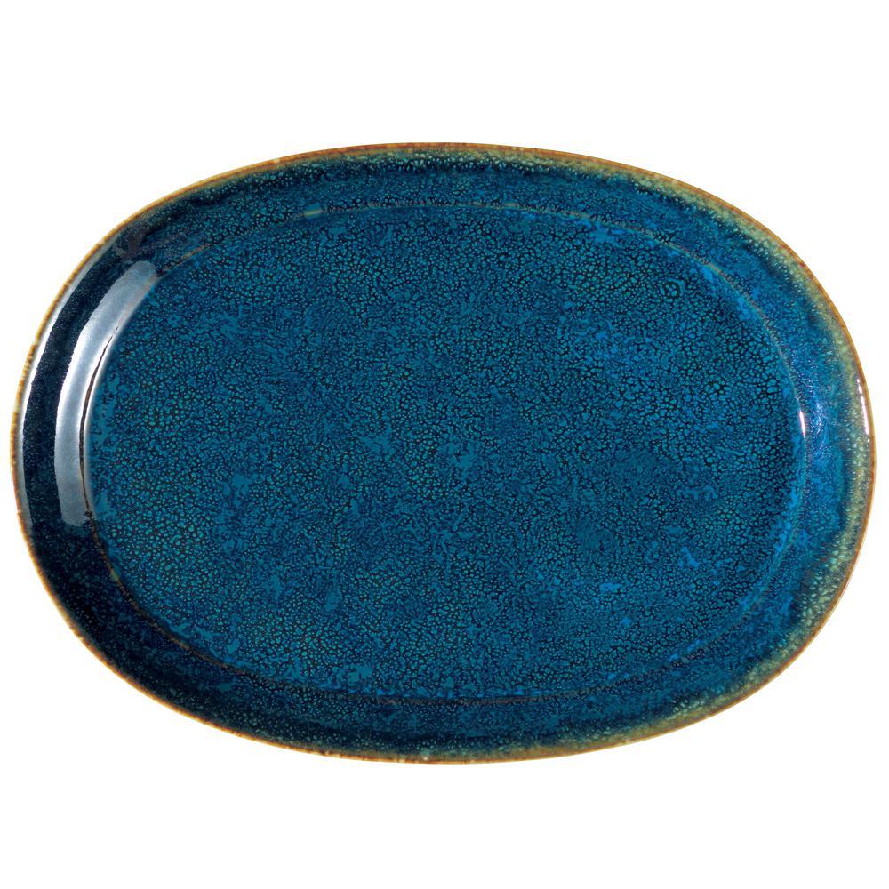 Blue Moss 12 in. Porcelain Oval Platters (Set of 12)