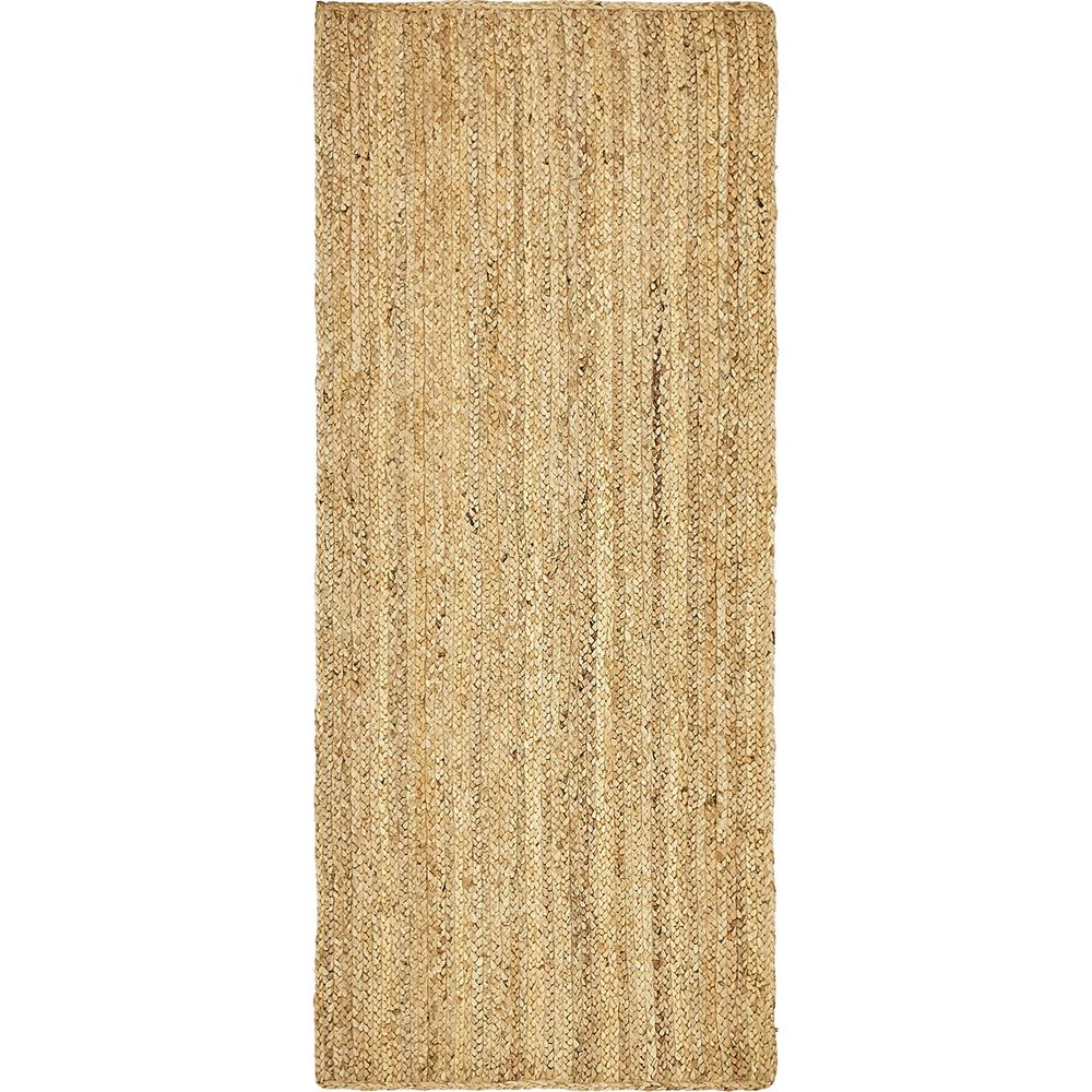 Unique Loom Braided Jute Natural 3 Ft X 6 Ft Runner Rug