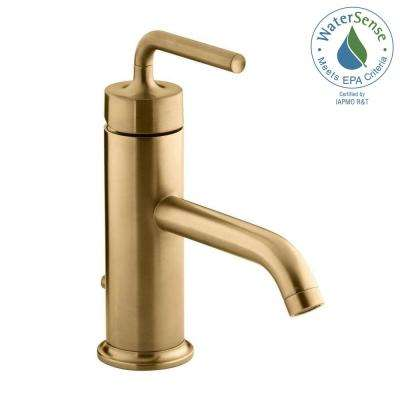 Purist 1-Hole Single Handle Low-Arc Bathroom Vesesl Sink Faucet in Vibrant Moderne Brushed Gold