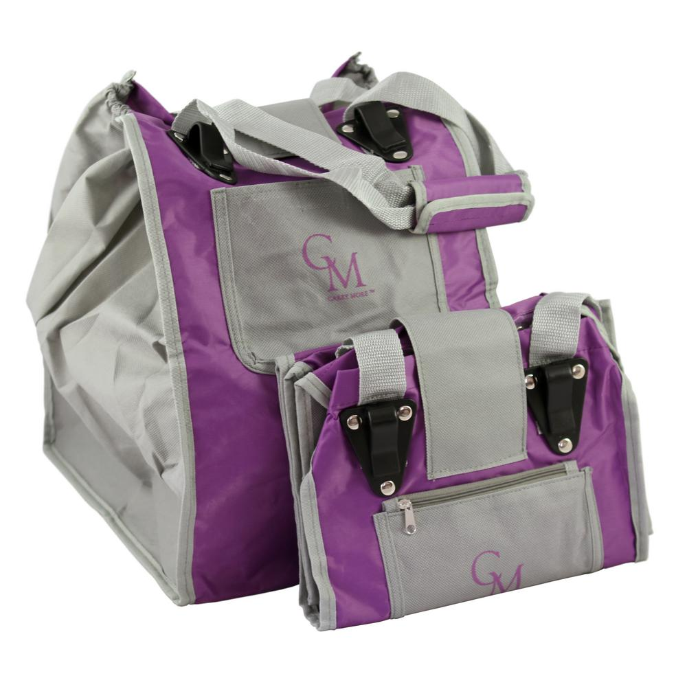 Reusable Sturdy Shopping Tote/Bag in Purple with Gray Trimming (2-Pack)