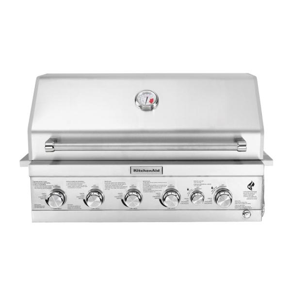 4-Burner Built-in Propane Gas Island Grill Head in Stainless Steel with Searing Main Burner and Rotisserie Burner