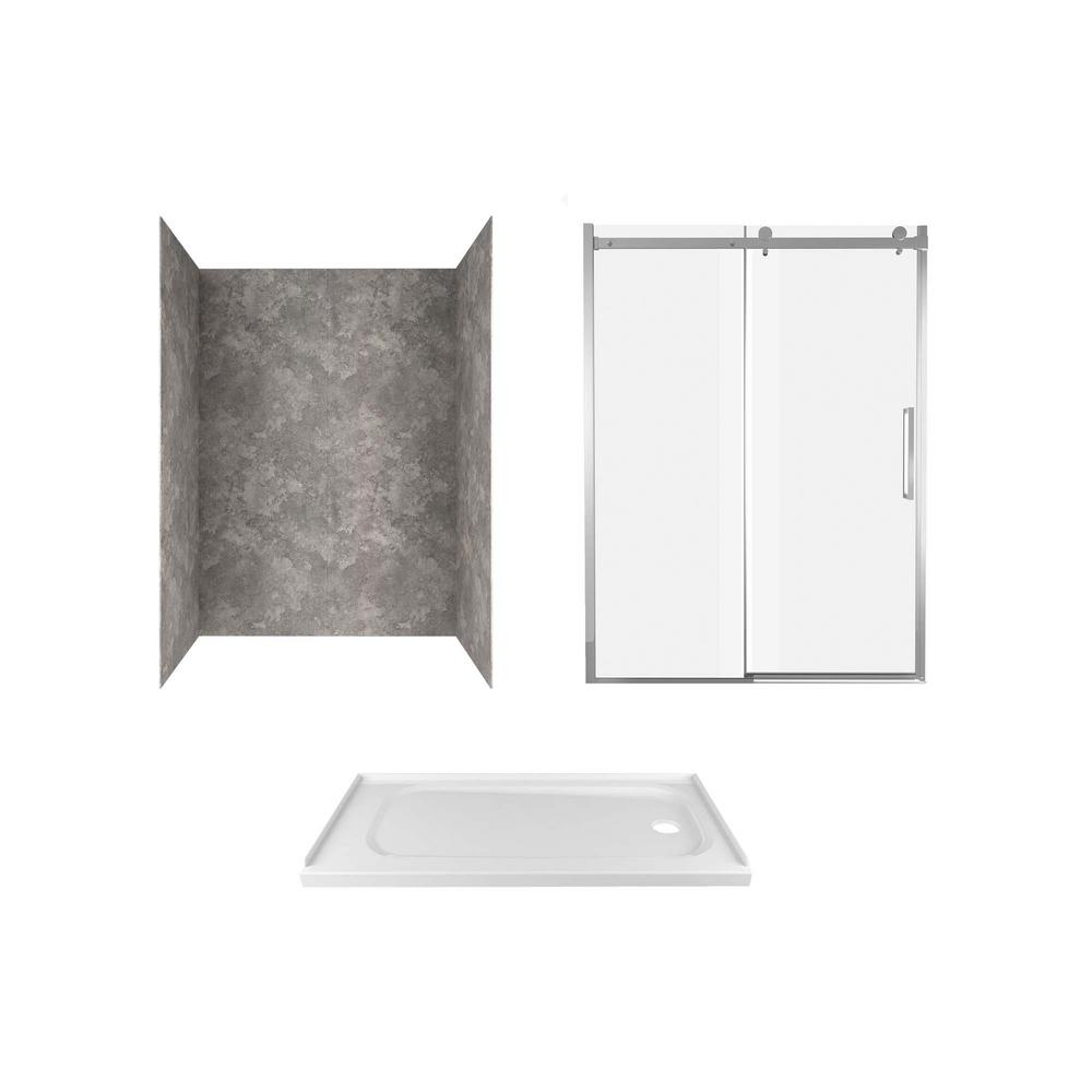 Passage 60 in. x 72 in. 3-Piece Glue-Up Alcove Shower Wall, Door and Base Kit with Right Drain in Gray Concrete
