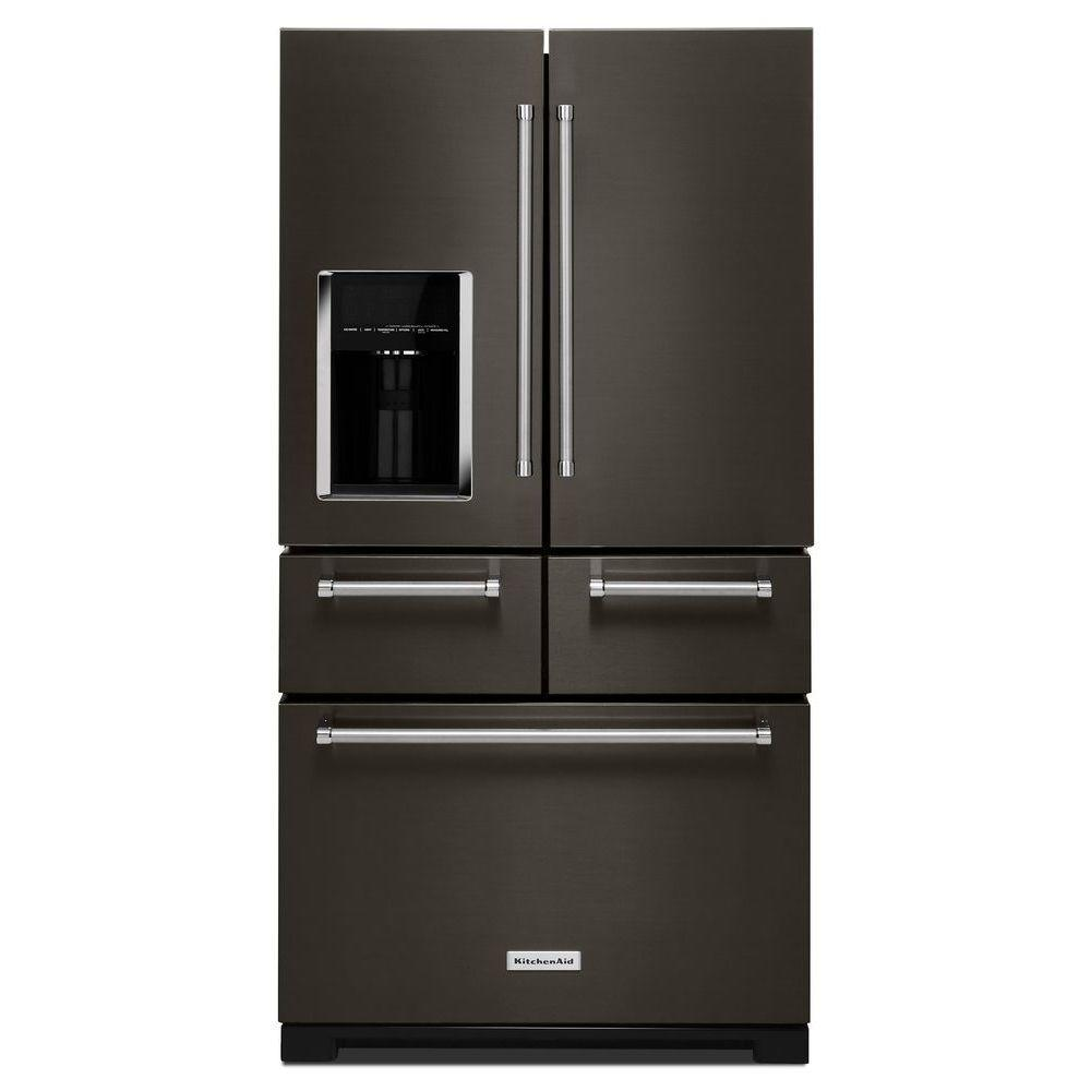 36 in. W 25.8 cu. ft. French Door Refrigerator in Black