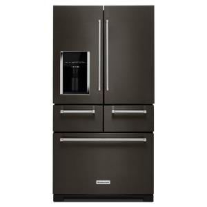KitchenAid 36 inch W 25.8 cu. ft. French Door Refrigerator in Black Stainless with Platinum Interior by KitchenAid