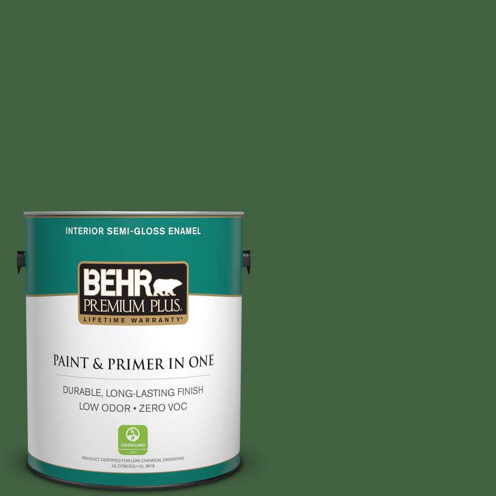 BEHR Premium Plus 1 gal. #S400-7 Deep Viridian Semi-Gloss Enamel Zero VOC Interior Paint and Primer in One