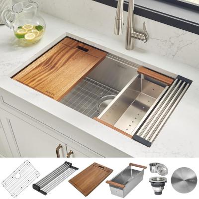30 in. Single Bowl Undermount 16-Gauge Stainless Steel Ledge Kitchen Sink with Sliding Accessories