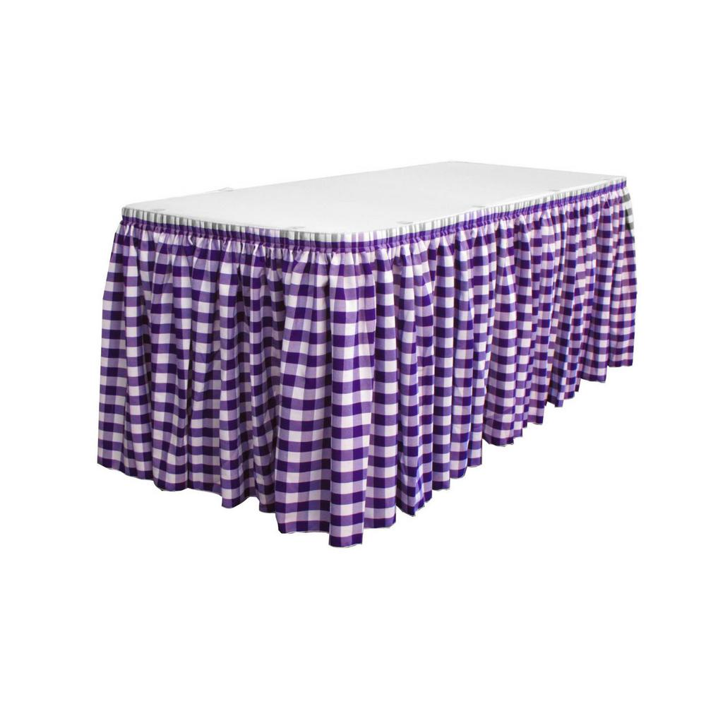 LA Linen 17 Ft. X 29 In. Long White And Purple Polyester Gingham Checkered