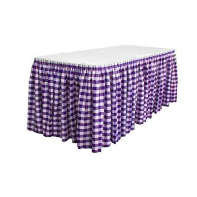 21 ft. x 29 in. White and Purple Long Polyester Gingham Checkered Table Skirt with 15 L-Clips