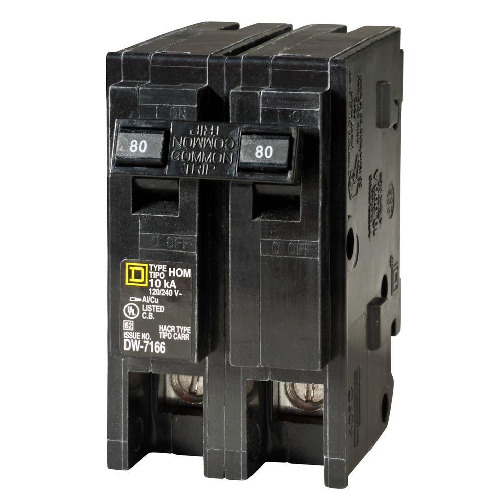 Square D Homeline 80 Amp 2-Pole Circuit Breaker on