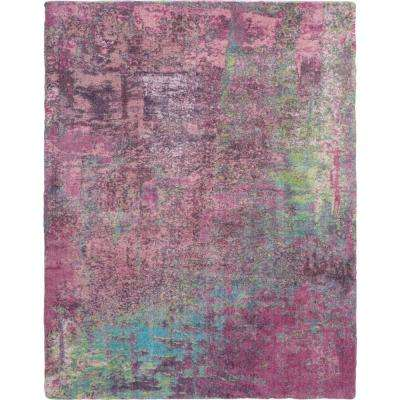 Abstract Shag 8' x 10' Pink Multicolor Colorful Area Rug