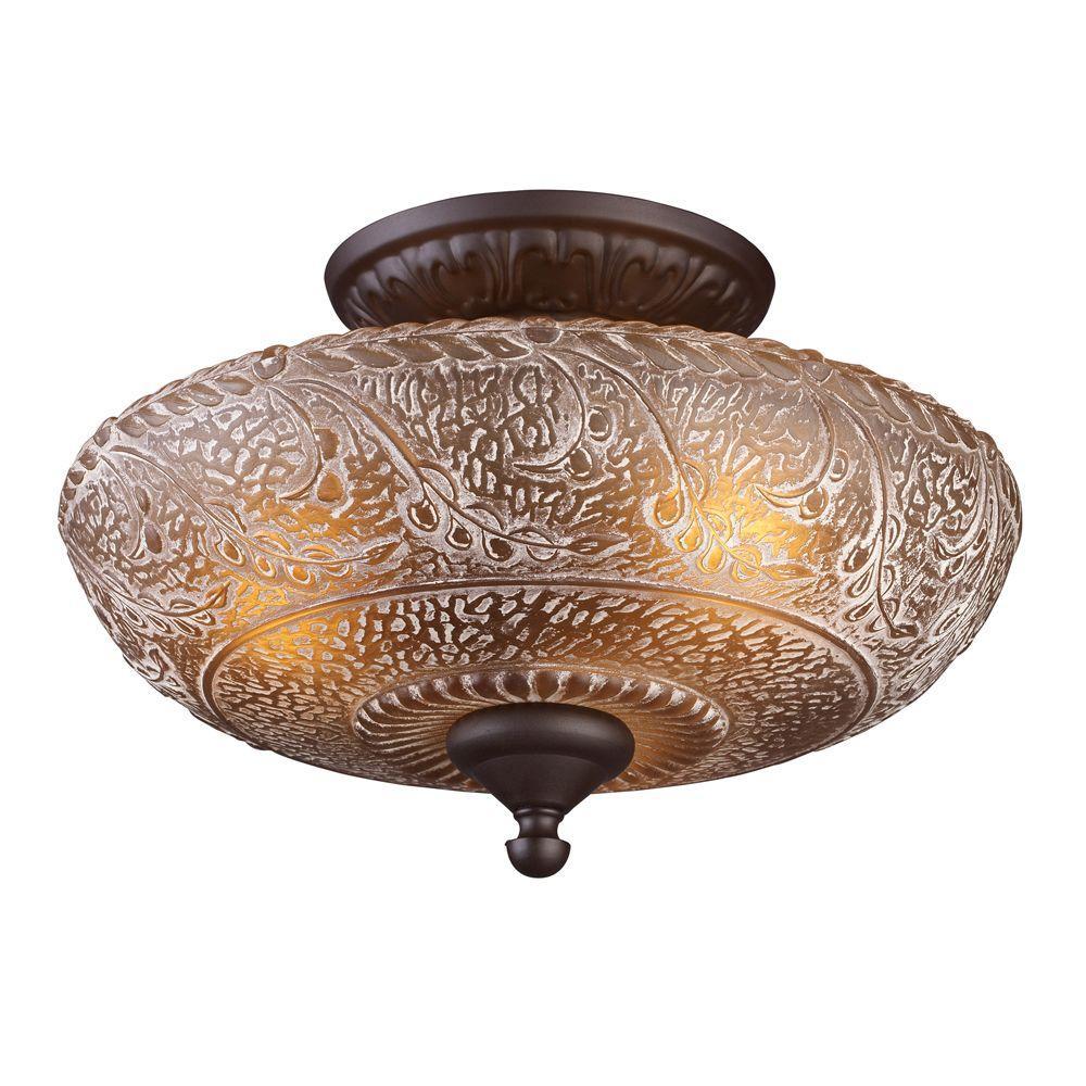 Titan Lighting Norwich 3 Light Oiled Bronze Ceiling Semi
