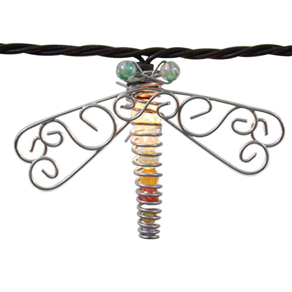 10-Light 102 in. Clear Beaded Dragonfly String Light Set