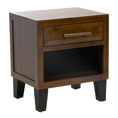 Luna Mahogany Brown Acacia Wood End Table with Drawer and Shelf