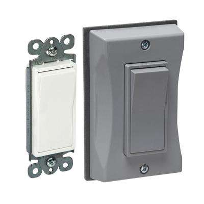 1-Gang Weatherproof Decorator 15 Amp Single-Pole Switch Wall Plate, Gray (6-Pack)