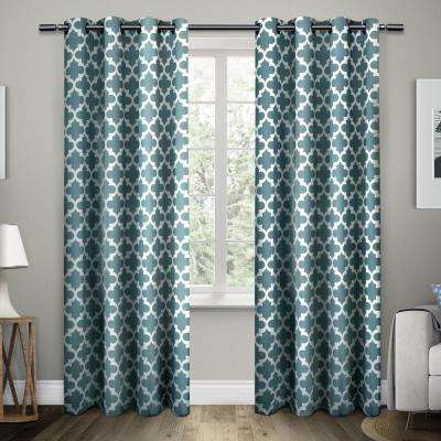 Neptune 54 in. W x 108 in. L Cotton Grommet Top Curtain Panel in Teal (2 Panels)