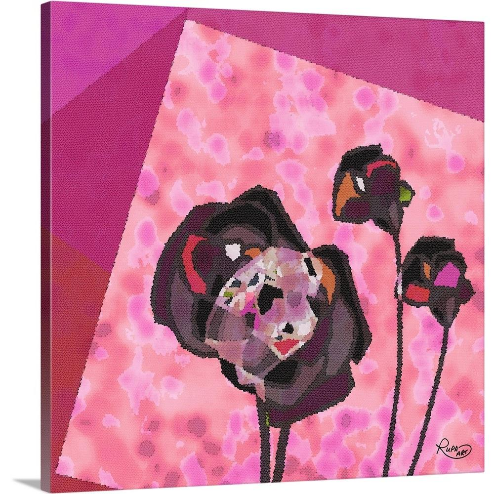 """Cabbage Rose Flower Print Purple Abstract Art Kitchen Wall: GreatBigCanvas """"Geometric Pink Floral II"""" By RUPA Art"""