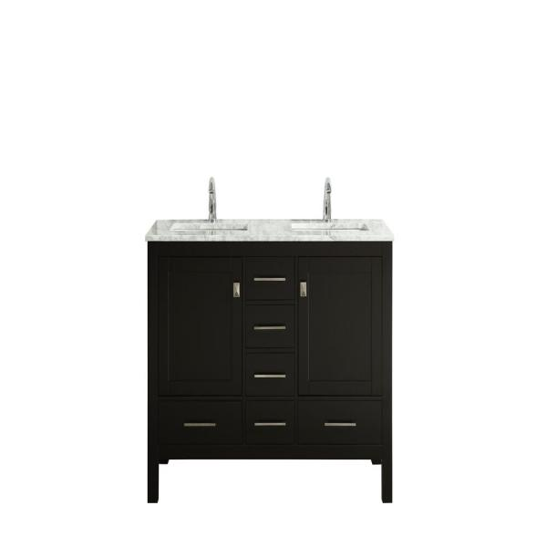 London 48 in. x 18 in. Transitional Espresso Bathroom Vanity with White Carrara Marble and Double Porcelain Sinks