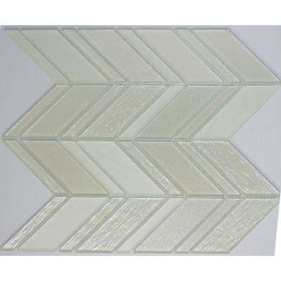 12 in. x 12 in. x 8 mm Tile Esque White and Silver Chevron Mesh Mounted Mosaic Tile