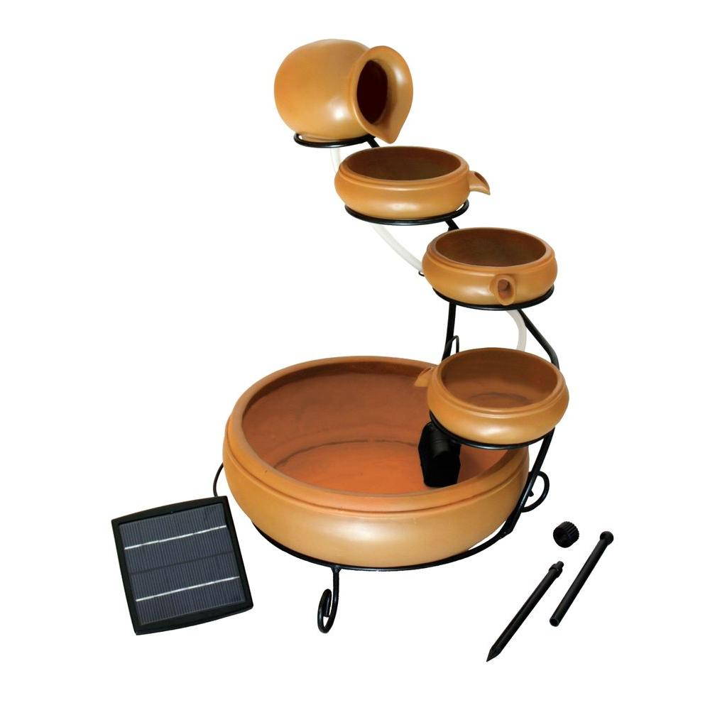 Koolatron Cascading Solar Fountain Kit, Brown/Tan