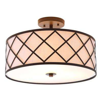 Elizabeth 16.75 in. Metal LED Flushmount, Oil Rubbed Bronze/White