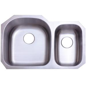 Kingston Brass Undermount Stainless Steel 32 In. 0 Hole Double Bowl Kitchen  Sink HKU322097DBN   The Home Depot