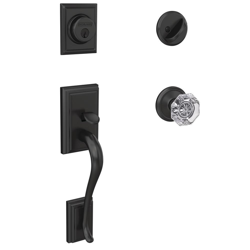 Custom Addison Matte Black Single Cylinder Door Handleset with Alexandria Glass Door Knob