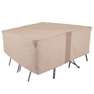 Monterey Water Resistant Rect/Oval Outdoor Patio Table and Chair Cover, 100 in. W x 70 in. D x 35 in. H, Beige