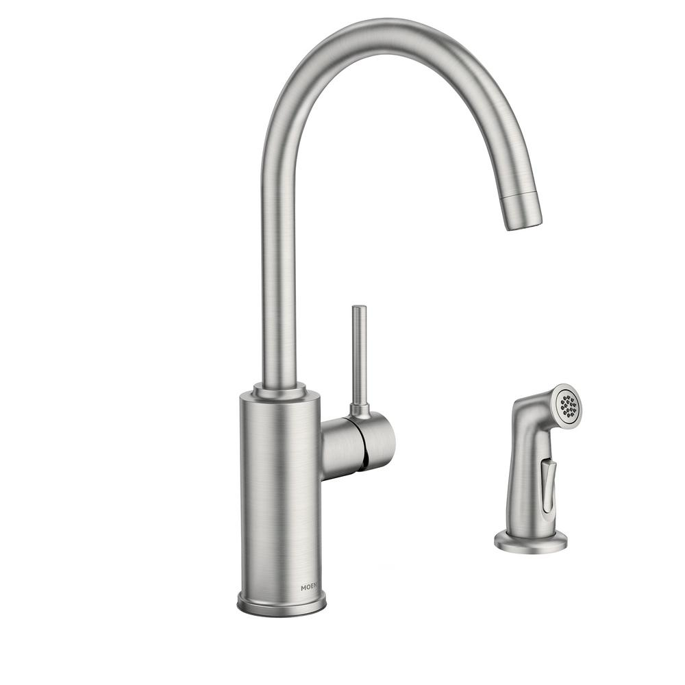 MOEN Sombra Single-Handle Standard Kitchen Faucet with Side Sprayer in Spot  Resist Stainless