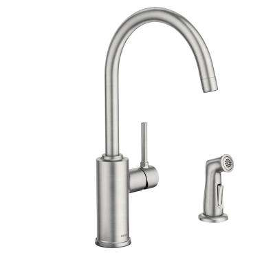 Sombra Single-Handle Standard Kitchen Faucet with Side Sprayer in Spot Resist Stainless