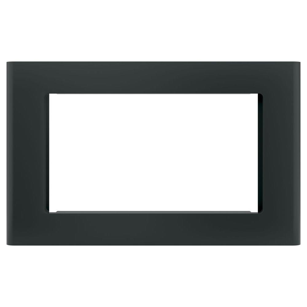 GE Microwave Optional 27 in. Built-In Trim Kit in Black Get a custom appearance for your microwave with the GE Built-In 27 in. Microwave Trim Kit in Stainless Steel. With a timeless look, this trim kit is ideal for the home or office to be enjoyed for years and years to come. It is intended for the GE 2.0 or 1.8 cu. ft. microwave oven. Color: Black.