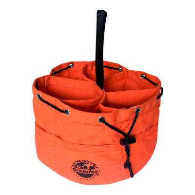 10 in. 6-Pocket Grab Tool Bag with Drawstring Closure in Orange Canvas