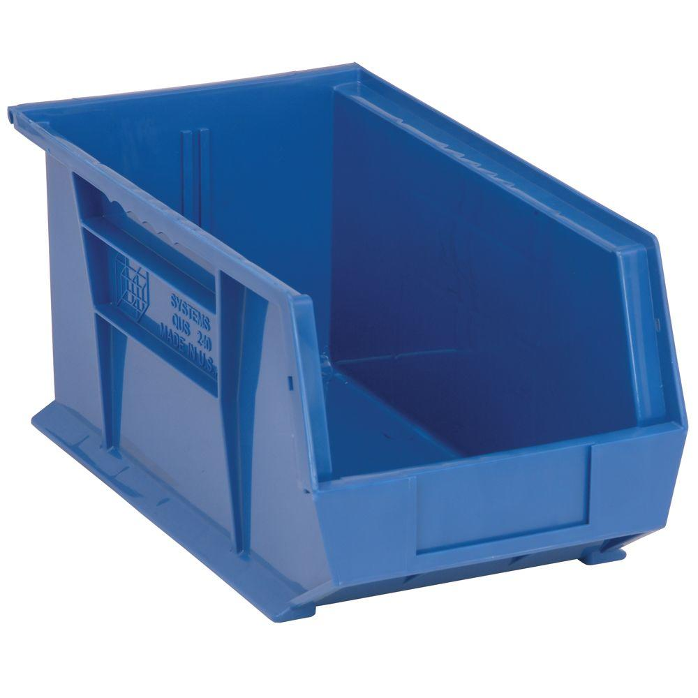 Edsal 34 Gal Stackable Plastic Storage Bin In Blue 12 Pack