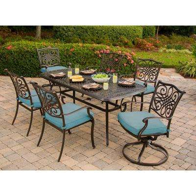 Traditions 7-Piece Aluminum Outdoor Rectangular Patio Dining Set and 2 Swivel Rockers with Blue Cushions