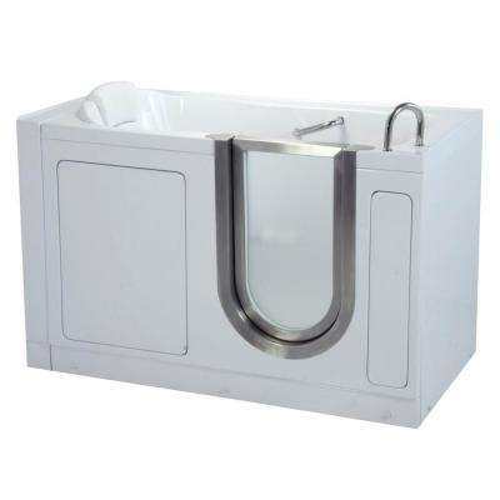 Deluxe 4.58 ft. x 30 in. Acrylic Walk-In Soaking Bathtub in White with Right Drain/Door