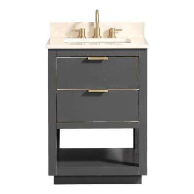 Allie 25 in. W x 22 in. D Bath Vanity in Gray with Gold Trim with Marble Vanity Top in Crema Marfil with Basin