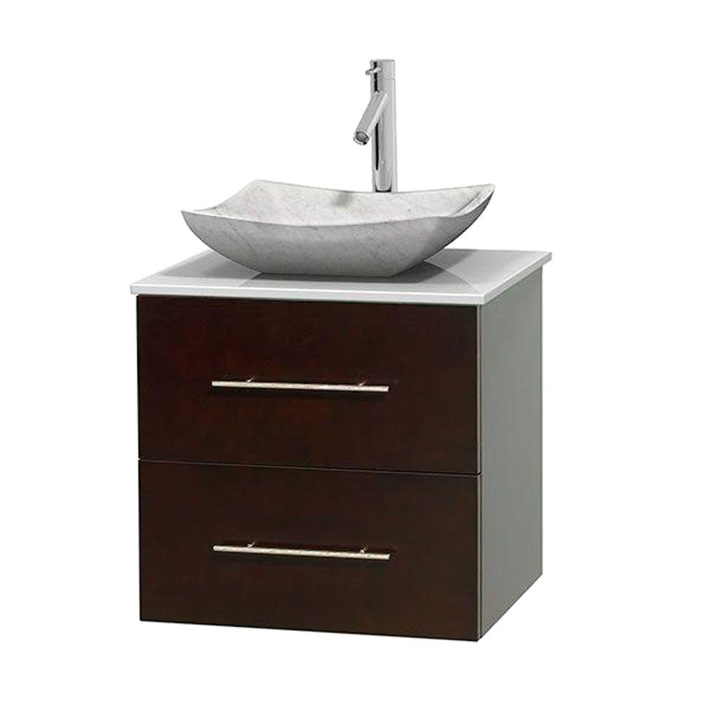 Wyndham Collection Centra 24 In Vanity In Espresso With Solid Surface Vanity Top In White And