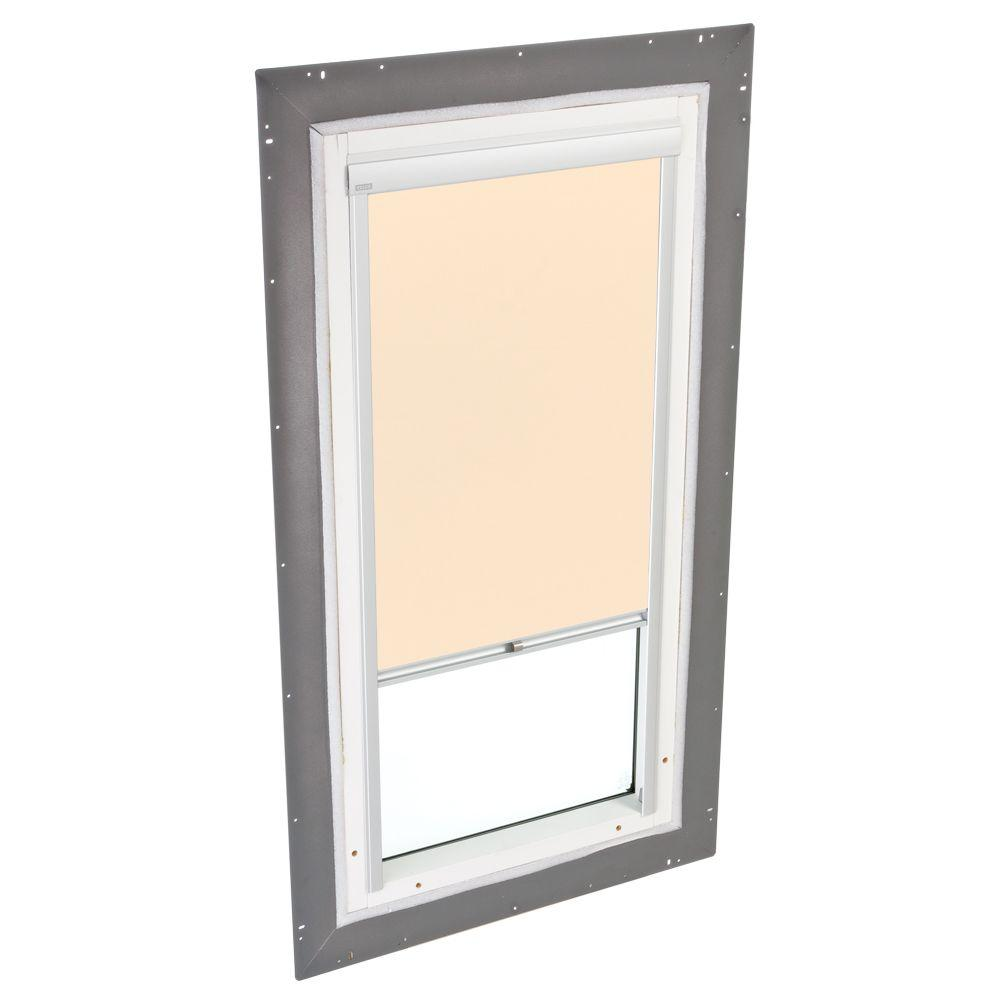 VELUX 22-1/2 in. x 46-1/2 in. Fixed Pan-Flashed Skylight with Tempered LowE3 Glass and Beige Manual Light Filtering Blind