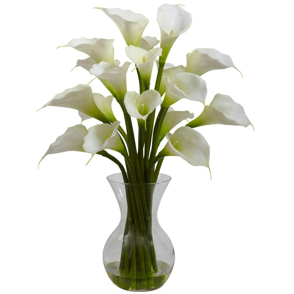 Nearly Natural Galla Calla Lily With Vase Arrangement In Cream 1299