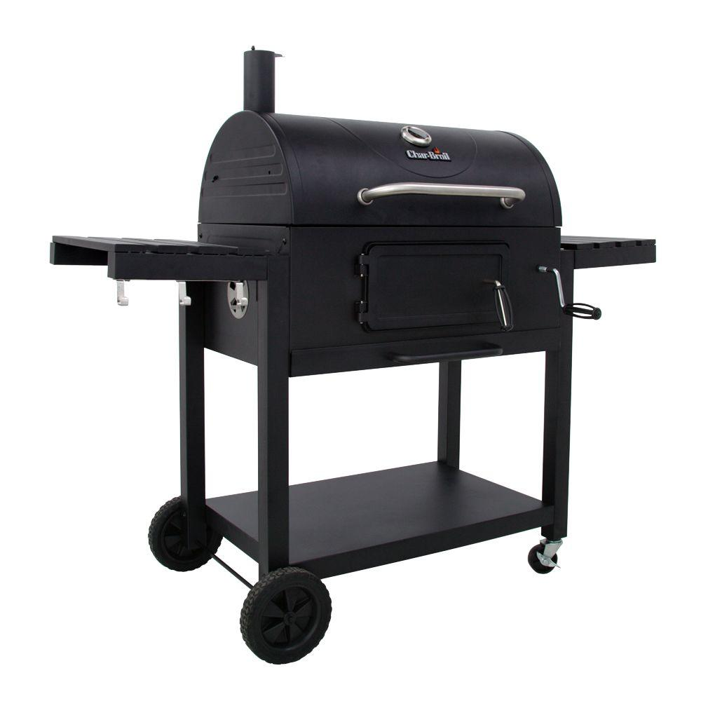 Char-Broil 30 in. Charcoal Grill with Cast Iron Grates and Folding Side Shelves