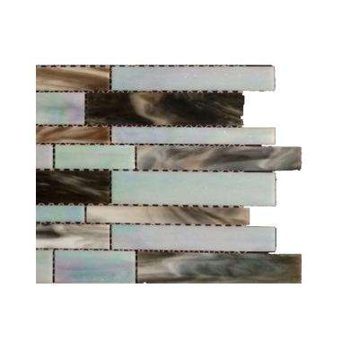Matchstix Tidal Wave 3 in. x 6 in. x 3 mm Glass Mosaic Floor and Wall Tile Sample