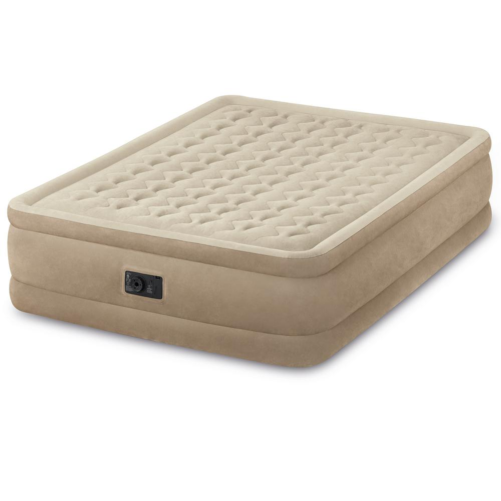 Intex Ultra Plush Fiber-Tech Airbed Queen Air Mattress Bed with Built-in Pump Here's an airbed that is sure to impress your most important guests. The Intex Queen Ultra Plush Fiber-Tech Raised Airbed combines comfort, convenience and great looks into 1 luxurious airbed. It boasts a unique textured sleeping surface and inflated outer perimeter band for extra stability. The built-in electric pump makes inflating fast and easy and allows you to adjust the firmness with the touch of a button.