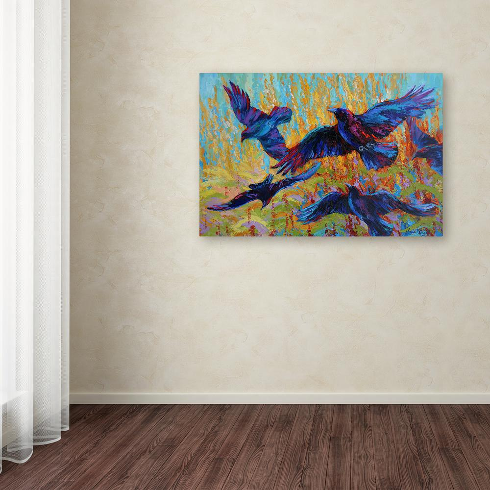 Trademark fine art 30 in x 47 in crows 6 by marion