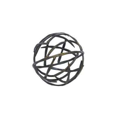 6 in. Metal Orb in Gold Brush