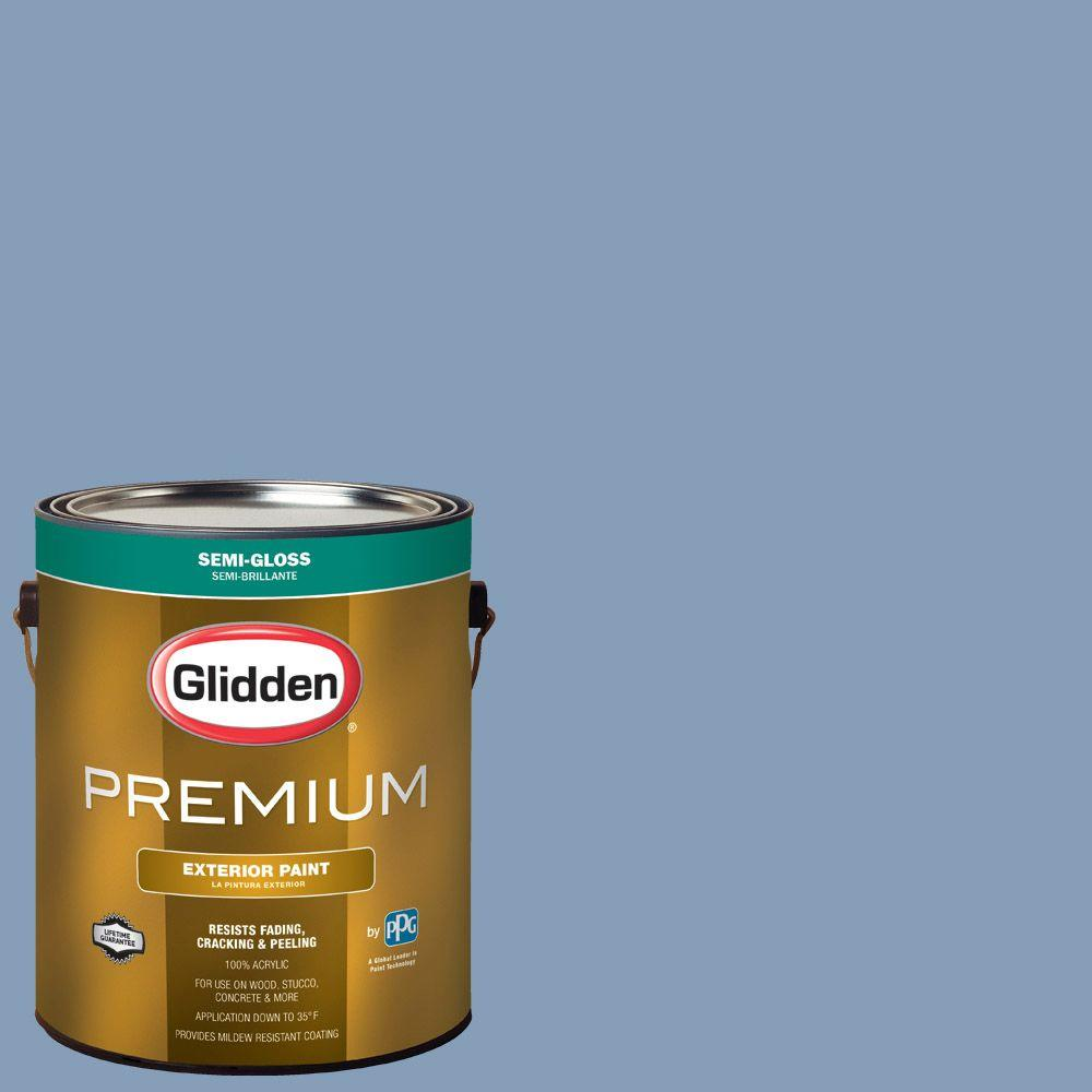 Glidden Premium 1-gal. #HDGV24D Steel Blue Semi-Gloss Latex Exterior on