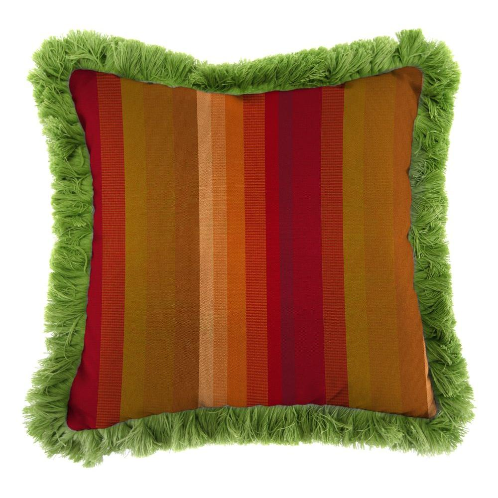 Sunbrella Astoria Sunset Square Outdoor Throw Pillow with Gingko Fringe