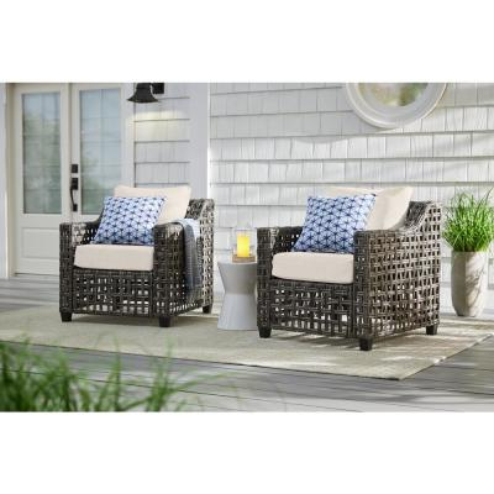 Briar Ridge Brown Wicker Outdoor Patio Deep Seating Lounge Chair with CushionGuard Almond Tan Cushions (2-Pack)